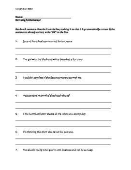 Grammar Worksheets Revising Sentences Grades 4 5 Morning Work