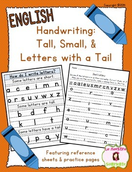 Handwriting Tall Small And Letters With A Tail English