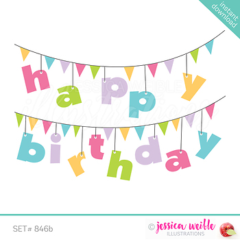 Happy Birthday Banner Clip Art Pink By Jw Illustrations Tpt