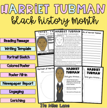 harriet tubman close read posters report and writing activities