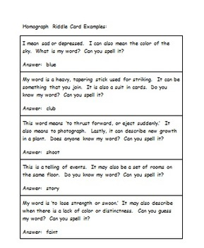 Homograph Riddle Cards By Terri S Teachables