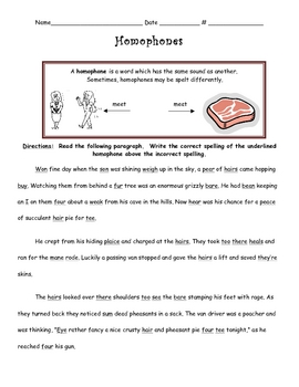 Homophones Differentiated Instruction Activity By Teaching