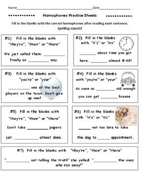 Homophones Practice Sheets 5 Worksheets By David Filipek