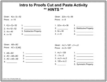 Introductory Geometry Proofs Cut And Paste Activity By Mrs