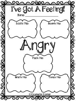 I Ve Got A Feeling Worksheet Set By Counselor Corner
