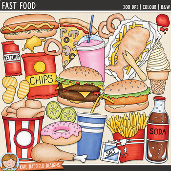 Junk Food Clip Art Fast Food By Kate Hadfield Designs Tpt