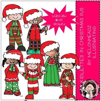 Kidlettes In Christmas Pajamas Clip Art Mini Melonheadz Clipart