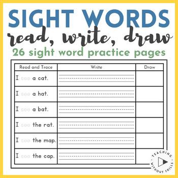 Kindergarten 1st Grade Read Write Draw Sight Word Sentences Worksheets