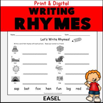 Kindergarten First Grade Rhyming Words Worksheets Write A