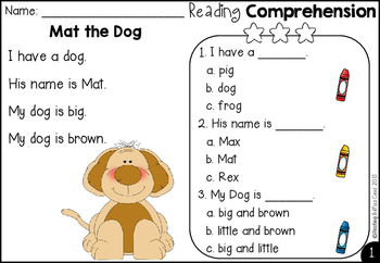 Free Kindergarten Reading Comprehension And Questions By