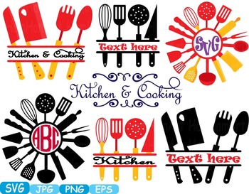 Download Kitchen SVG file Cricut & Cameo Utensils Cooking food ...