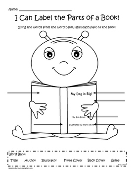 Label The Parts Of A Book By Kinder Critter Creations
