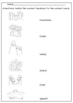Landforms Matching Worksheet By L M N O Pink