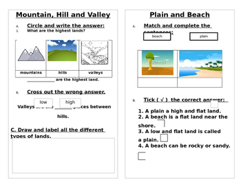 Landforms Worksheet Mountain Hills Valley Beach Plain