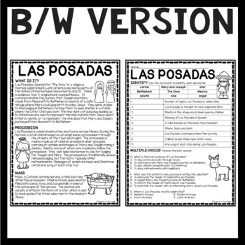 Las Posadas Reading Comprehension Worksheet Latin America
