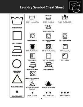 laundry basics handouts care symbols poster plus worksheet laundry bingo