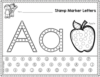 Letter Recognition Worksheets For Stamp Markers By Books