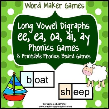 Long Vowel Digraphs Phonics Games Ee Ea Oa Ai Ay By Games