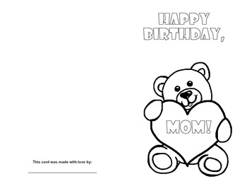 Mom Birthday Card Printables By Yippy Skippy Classroom Tpt