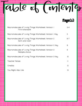 Macromolecules Of Living Things Worksheet For Middle And