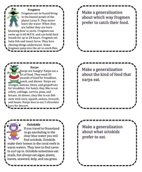Making Generalizations With Monsters Activities Tiered By