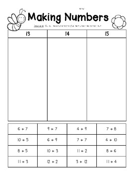 Making Numbers 13 14 And 15 Number Sense Worksheet By 4 Little Baers