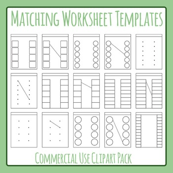 Matching Worksheet Template Layout Clip Art Set For