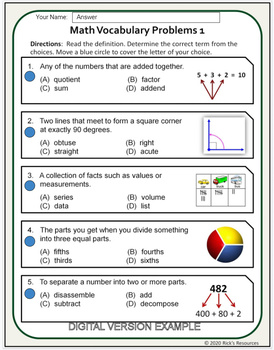 Math Vocabulary Activity Worksheets 4th Grade By Rick S