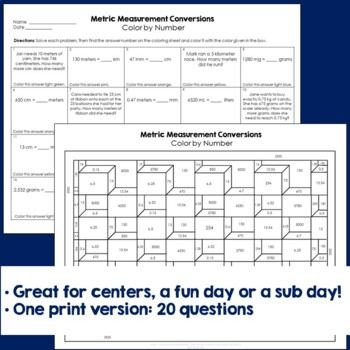 Metric Measurement Conversions Color By Number TpT