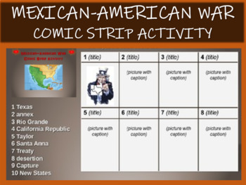Mexican American War Comic Strip Activity UPDATED With TWO VERSIONS