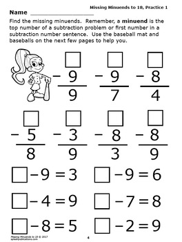 Missing Minuends To 18 Subtraction Worksheets Full Color