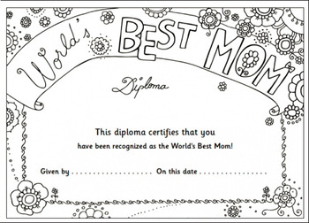 Mothers Day Diploma By Kindie Land Resources Teachers
