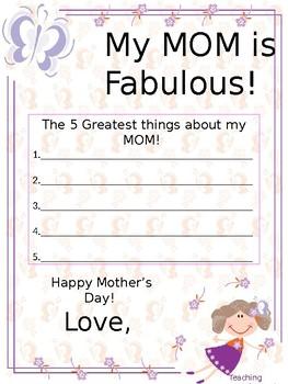Mothers Day Worksheet Teachers Pay Teachers