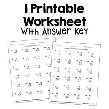Multiplication Worksheet 2 Digit By 1 Digit Free By Sheila