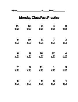Multiplication Worksheets Twos Times Tables By Amanda