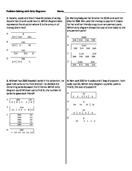 Multistep Word Problems with Strip Diagrams Worksheet by