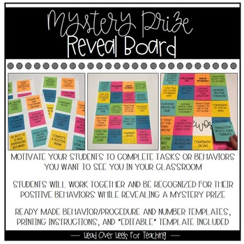 Mystery Prize Reveal Board With Sticky Notes Student Procedure Incentive Board