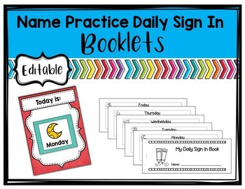 Name Practice Daily Sign-In - Editable booklets with lots of options
