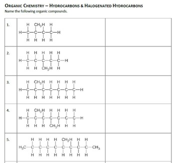 Naming Organic Compounds Worksheets By Ms Joelle