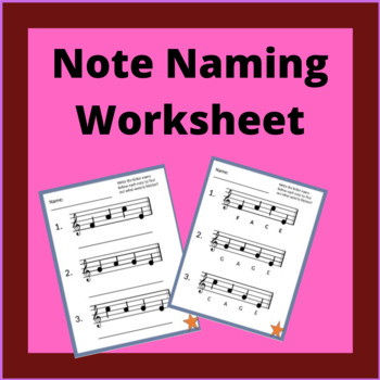 Note Naming Worksheet By Da Capo Classroom