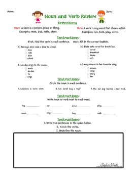 Noun And Verb Review Worksheet By Lauren Taylor