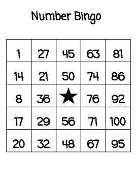Numbers Bingo 1 100 Worksheets Teaching Resources Tpt