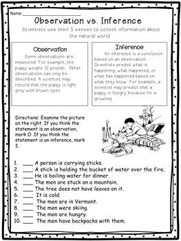 Observations Vs Inferences Worksheet By White S Workshop