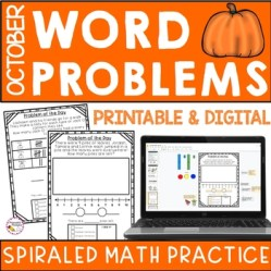 October Word Problem Practice First Grade