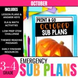 No Prep October Sub Plans for 3rd Grade & 4th Grade