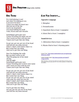 One Direction Song Lyrics Poetry Activity by Tracee Orman ...