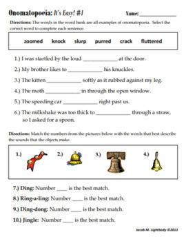 Onomatopoeia It S Easy Free Sample Worksheet By Jacob