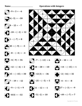 Operations With Integers Color Worksheet By Aric Thomas