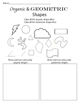 Organic And Geometric Shape Worksheet By Artsy Connections