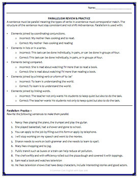 Parallelism Worksheet With Answers